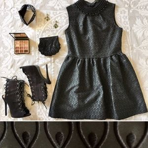 Little black structured party dress beaded collar